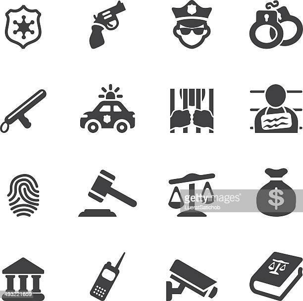 law and justice silhouette icons| eps10 - arrest stock illustrations, clip art, cartoons, & icons