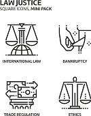 Law and justice, square mini icon set.