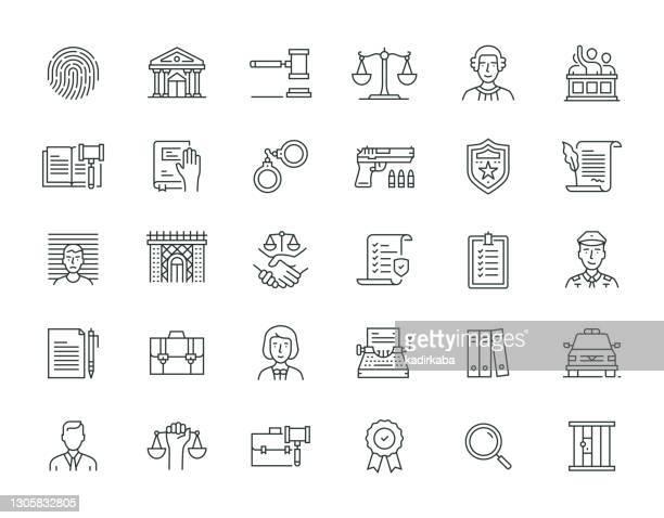 law and justice thin line icon set serie - justizsystem stock-grafiken, -clipart, -cartoons und -symbole