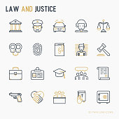 Law and justice thin line icons set: judge, policeman, lawyer, fingerprint, jury, agreement, witness, scales. Vector illustration.