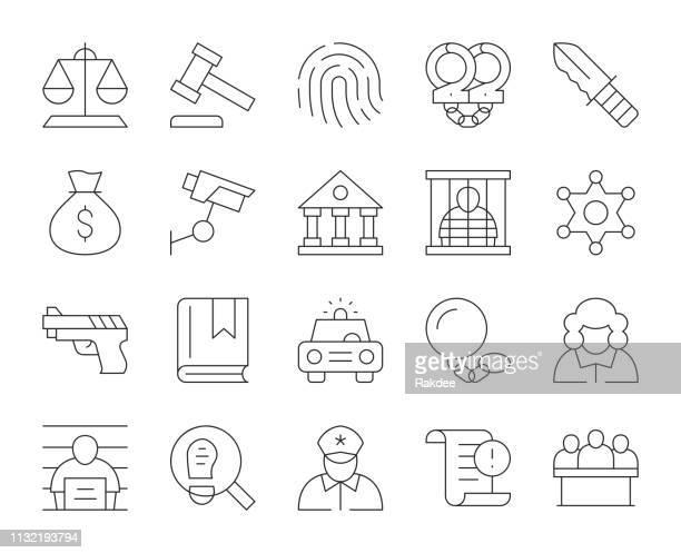 recht und gerechtigkeit-dünne linie icons - verteidiger jurist stock-grafiken, -clipart, -cartoons und -symbole