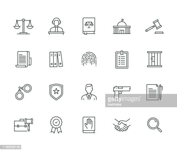 law and justice thin line series - legal defense stock illustrations
