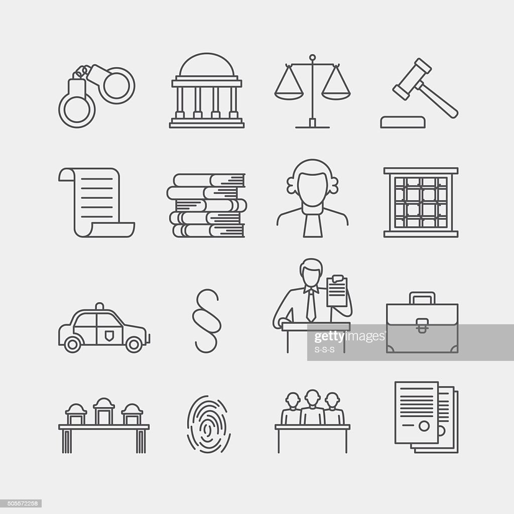 Law and justice thin line vector icons