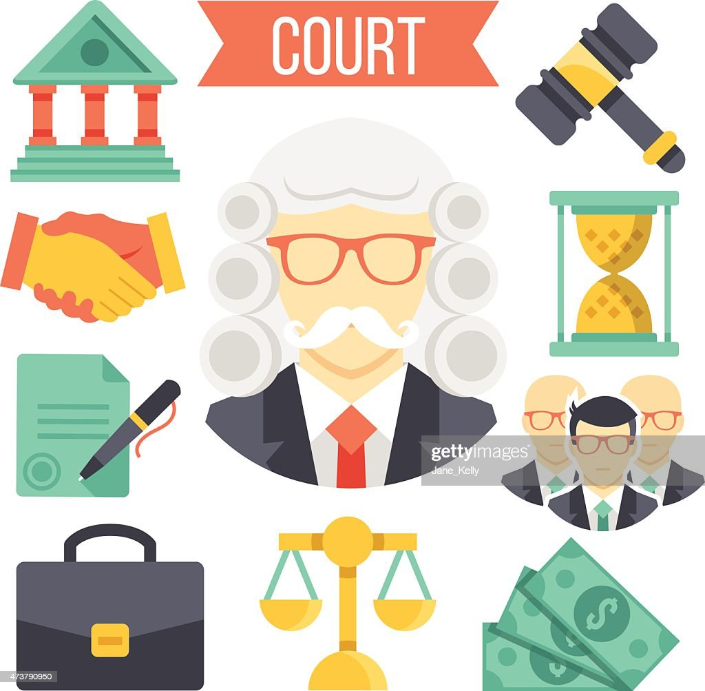 Law and justice vector icon set