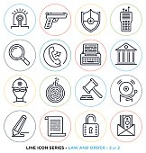 Law and order line icons