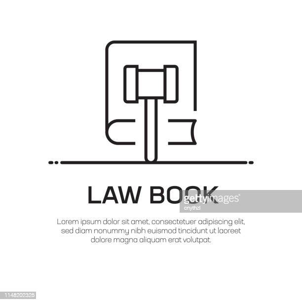 law book vector line icon - simple thin line icon, premium quality design element - hammer stock illustrations