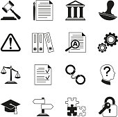 Law consulting, legal compliance vector icons