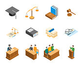 Law Court 3d Icons Set Isometric View. Vector