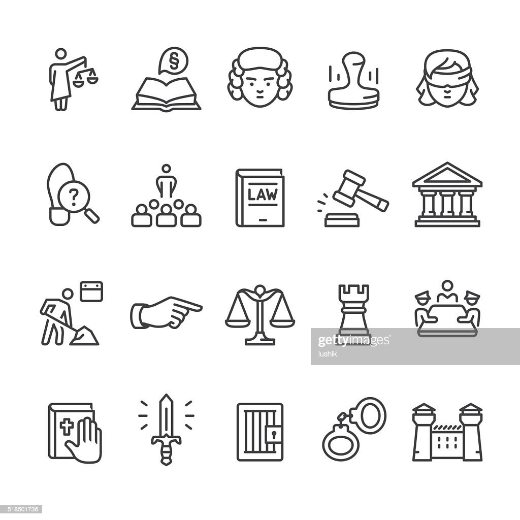 Gesetz &  Court Vektor icon-set : Stock-Illustration