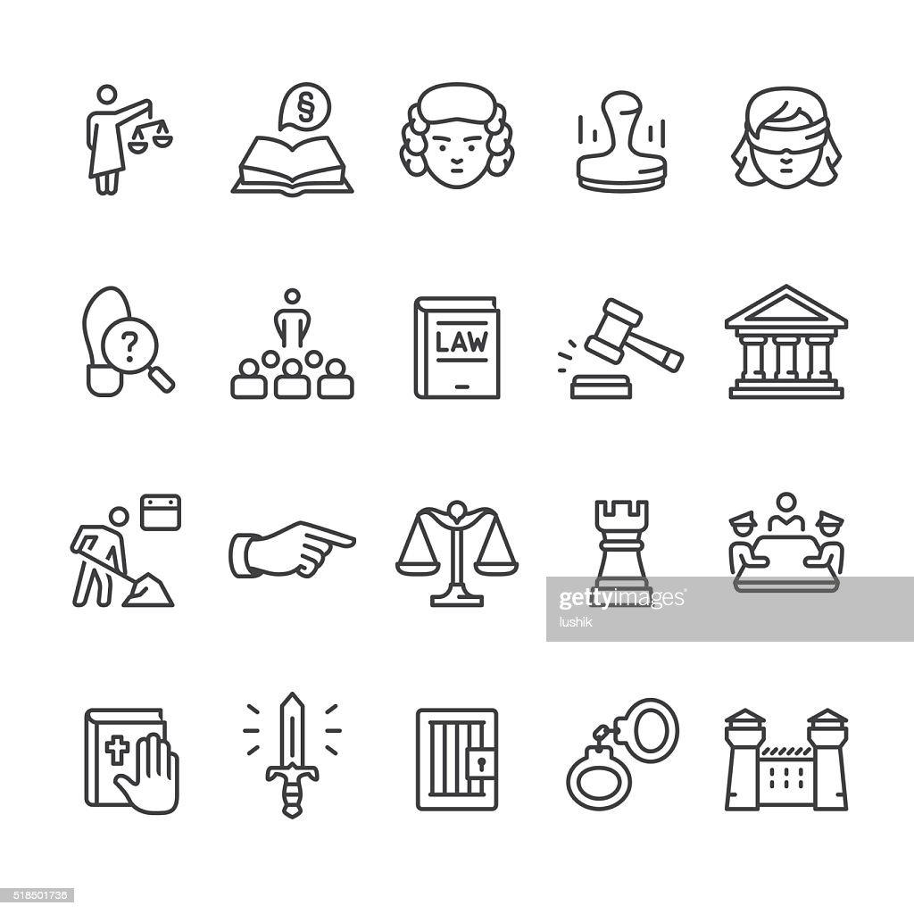 Law & Court vector icon set
