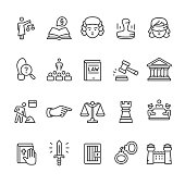 Law & Court vector icon set