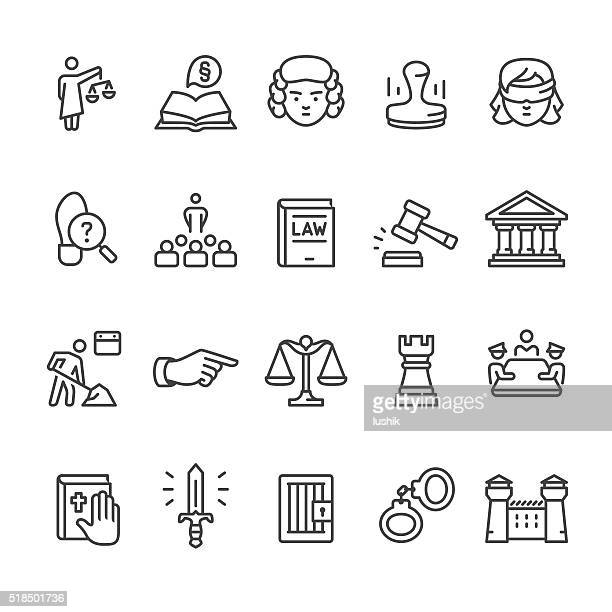bildbanksillustrationer, clip art samt tecknat material och ikoner med law & court vector icon set - crime or recreational drug or prison or legal trial
