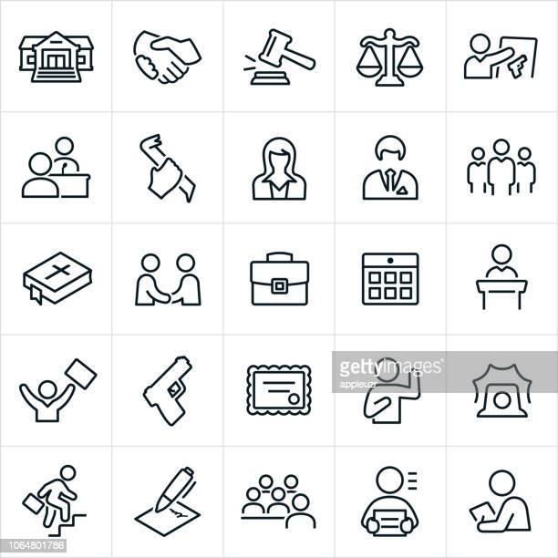 stockillustraties, clipart, cartoons en iconen met recht, misdaad en justitie pictogrammen - gerechtsgebouw
