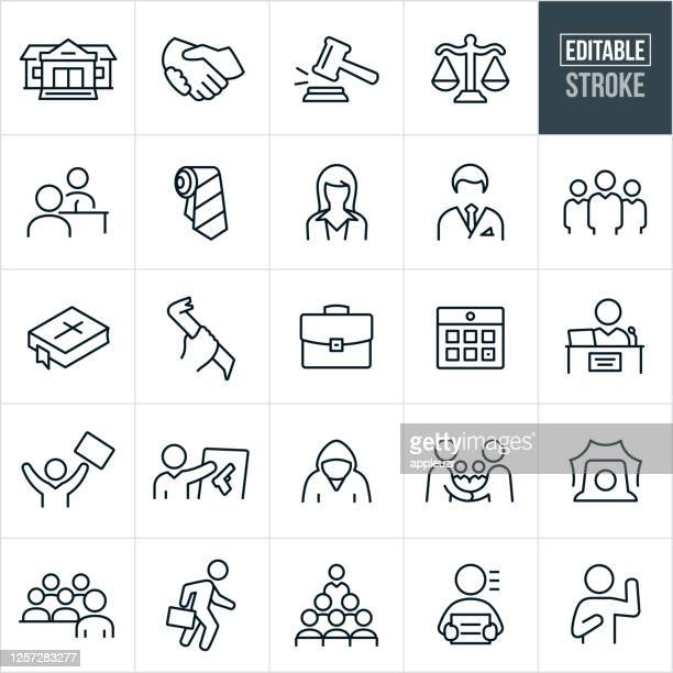 law, crime and justice thin line icons - editable stroke - briefcase stock illustrations