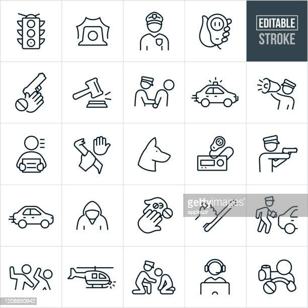 law enforcement thin line icons - editable stroke - hitting stock illustrations