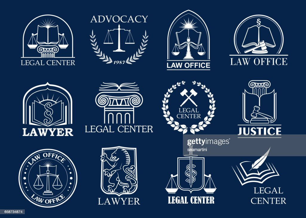 Law firm, legal center and lawyer office badge set
