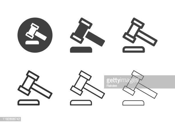 law hammer icons - multi series - criação digital stock illustrations