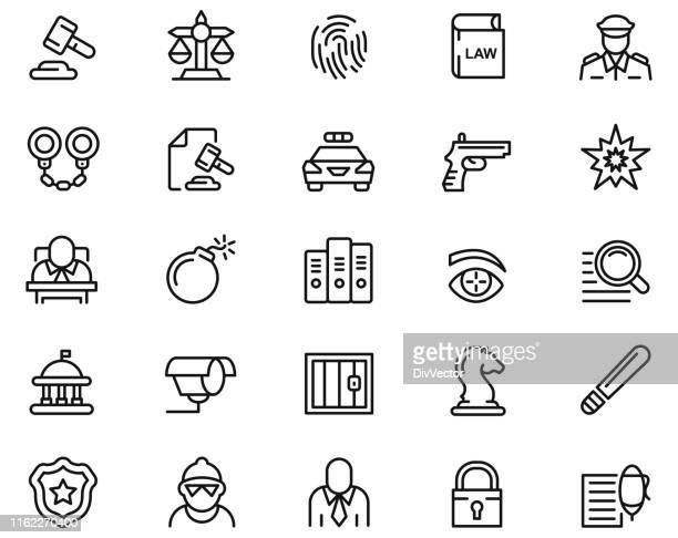 ilustrações de stock, clip art, desenhos animados e ícones de law icon set - armadefogo