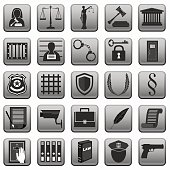law icons button sign . lady justice . police scales gavel prison  .