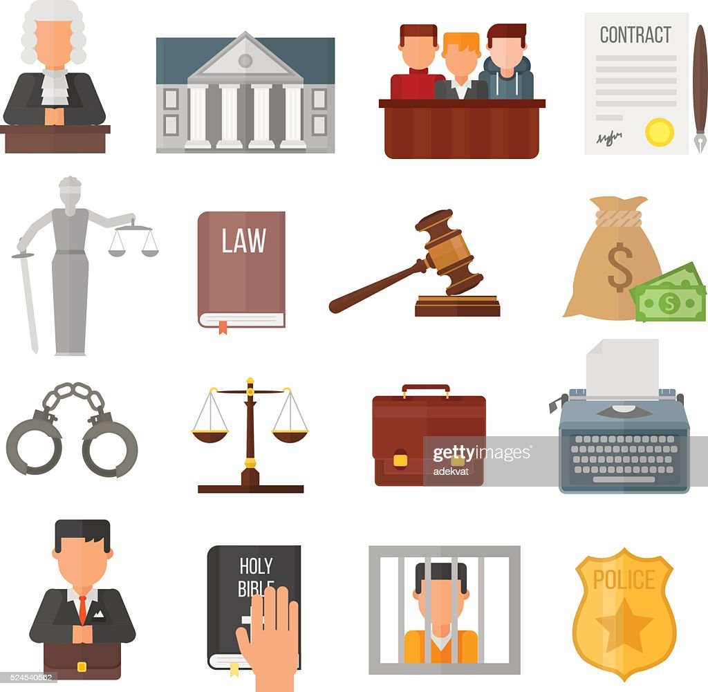 Law justice legal court lawyer judgment judge gavel symbol vector