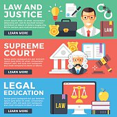 Law, justice, supreme court, legal education flat illustration concepts set