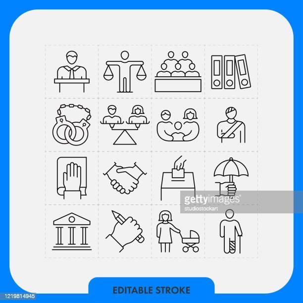 law line icons.editable stroke - hingabe stock-grafiken, -clipart, -cartoons und -symbole