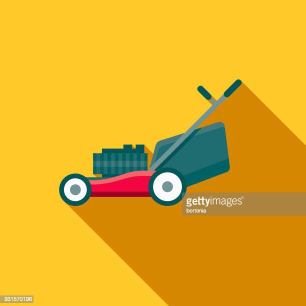 Law Mower Flat Design Gardening Icon with Side Shadow