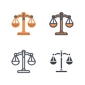 Law scale weights business icon vector flat line silhouette colored