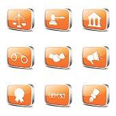 Law Sign Square Vector Orange Icon Design Set