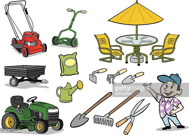 lawn and garden stuff - lawn mower stock illustrations