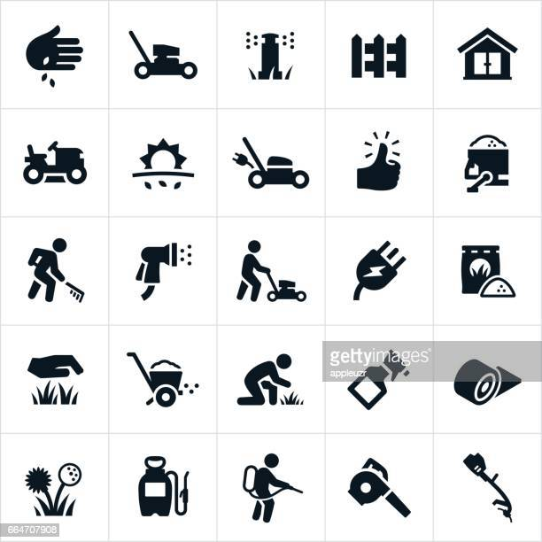 lawn care icons - shed stock illustrations