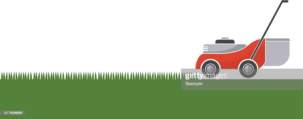Lawn mower cutting grass with isolated background