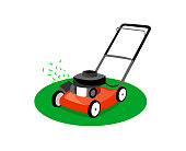 Lawn mower isolated on white background.