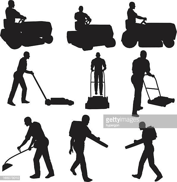 lawn service silhouette collection - leaf blower stock illustrations, clip art, cartoons, & icons