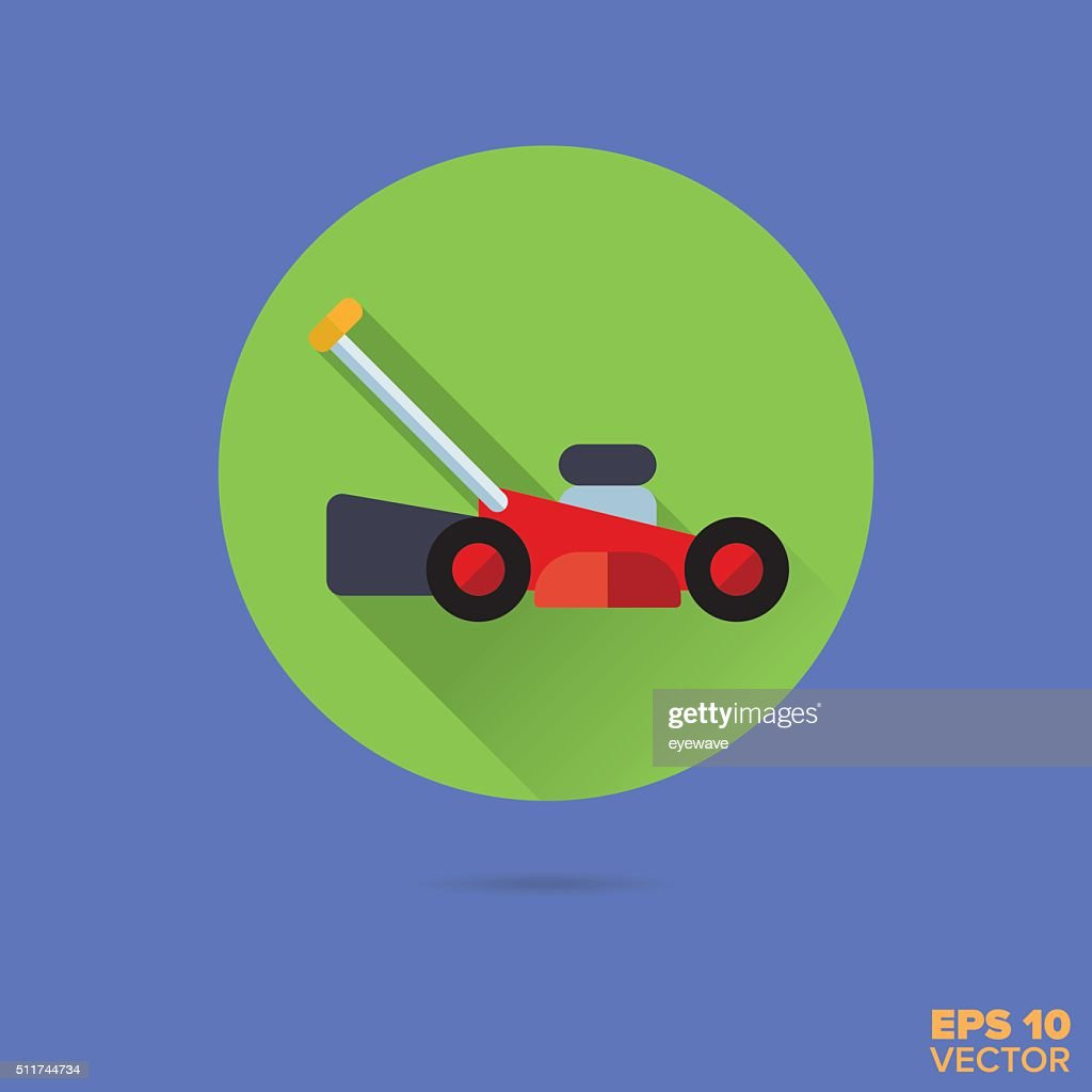 lawnmower flat design vector icon