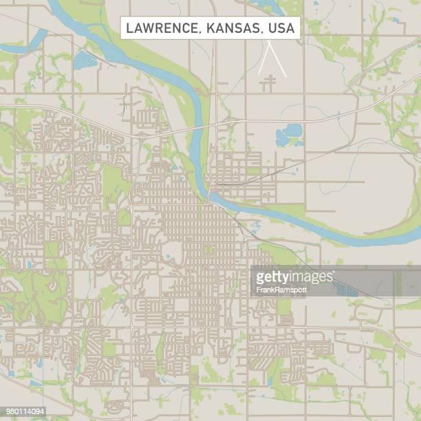 Lawrence, Kansas USA Stadtstraße Karte