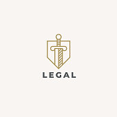 Lawyer Advocate emblem design. Vector Linear style template. Law firm emblem icon. Universal legal, advocate, lawyer symbol. Sword and shield. Justice idea. Protect or defense concept icon.