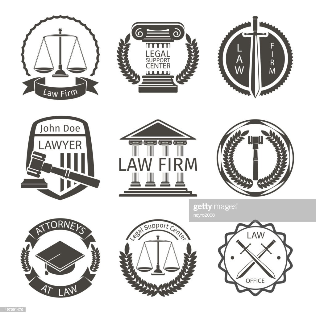 Lawyer and law office logo, emblem labels vector set