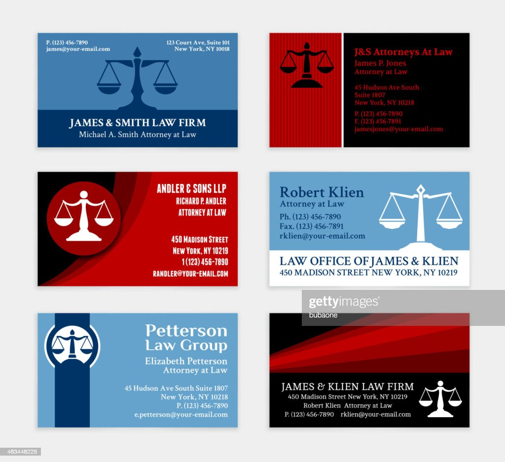 Lawyer Business Cards Color Set Vector Art | Getty Images