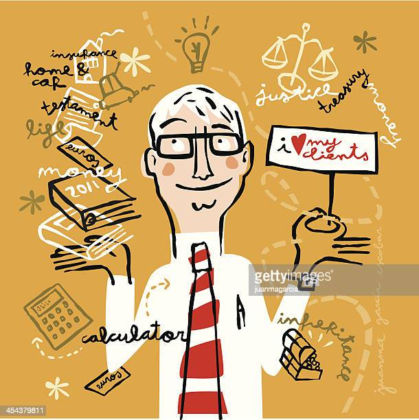 lawyer promoting your business - mature adult stock illustrations
