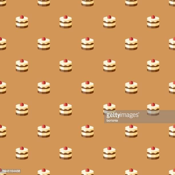 レイヤー ケーキの甘いデザートのシームレス パターン