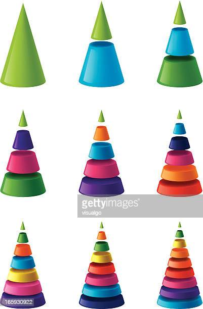 layered cone chart - cone shape stock illustrations
