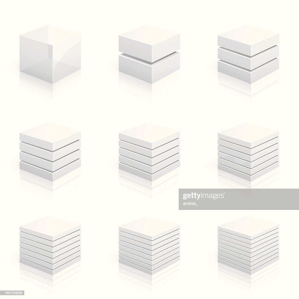 Layered cubes divided into two to nine rows