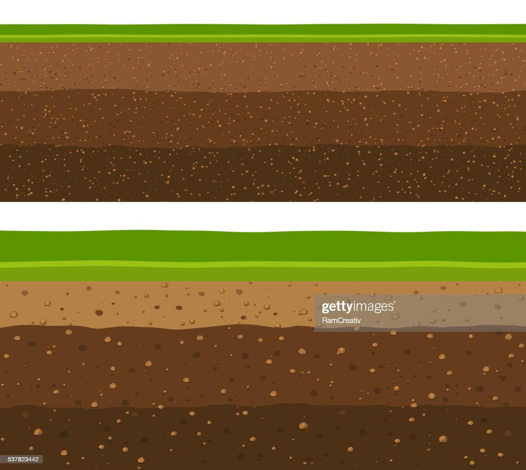 Layers of grass with Underground layers of earth