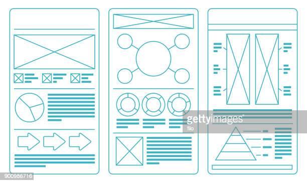 レイアウト アイデア テンプレート - ワイヤーフレーム作成点のイラスト素材/クリップアート素材/マンガ素材/アイコン素材