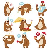 Laziness sloth animal character different pose like human cute lazy cartoon kawaii and slow down wild jungle mammal flat design vector illustration