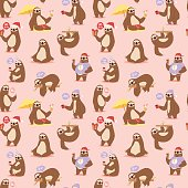 Laziness sloth animal character different pose seamless pattern vector
