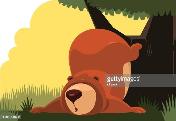 木に寄りかかっている怠惰なクマ - 冬眠点のイラスト素材/クリップアート素材/マンガ素材/アイコン素材