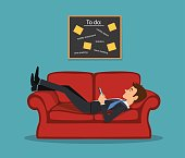 Lazy bored employee laying on couch, playing with telephone postponing his tasks from to do list. procrastination vector illustration