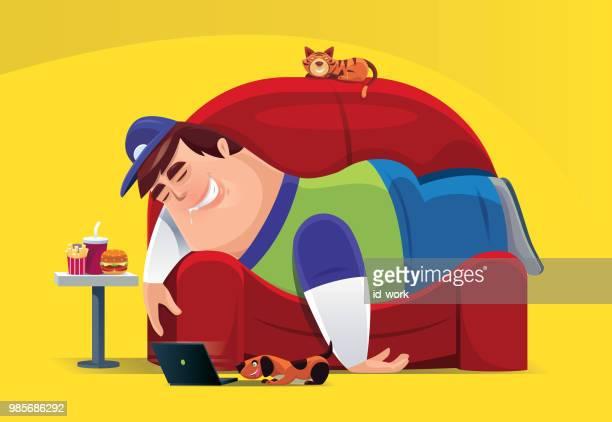 illustrations, cliparts, dessins animés et icônes de paresseux gros homme couché sur le canapé - mou